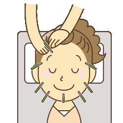 鍼灸治療を受ける女性のイラスト