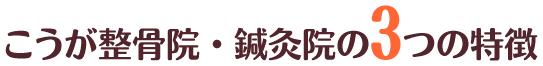 3つの特徴|大阪市西区南堀江 こうが整骨院・鍼灸院